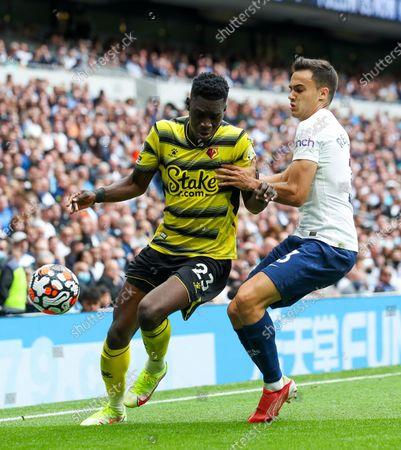 Sergio Reguilon of Tottenham Hotspur & Ismaila Sarr of Watford