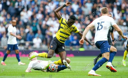 Oliver Skipp of Tottenham Hotspur fouls Ismaila Sarr of Watford