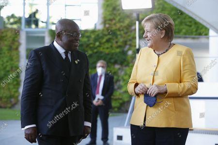 German Chancellor Angela Merkel welcomes Ghana's President Nana Addo Dankwa Akufo-Addo to the G20 Compact with Africa (CwA) meeting in Berlin, Germany, August 27, 2021.