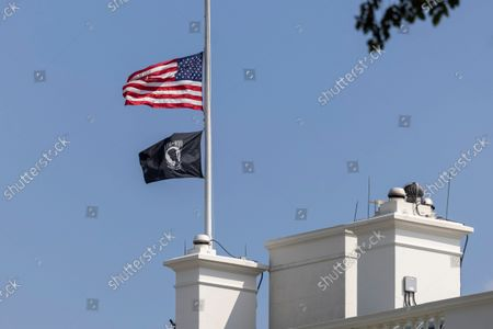 Editorial image of Flag flies at half staff above the White House, Washington, District of Columbia, USA - 27 Aug 2021