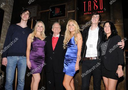 Cooper Hefner, Anna Berglund, Hugh Hefner, Playboy Playmate Crystal Harris, Marston Hefner and Samantha Crawley