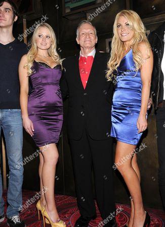 Anna Berglund, Hugh Hefner and Playboy Playmate Crystal Harris
