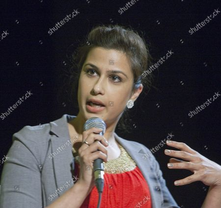 """Stock Picture of Actress Anita Majumdar (shown) interviews British-Canadian author and filmmaker Zarqa Nawaz who gives a talk and Q & A at Simon Fraser University's Goldcorp Centre for the Performing Arts introducing her new book """"Laughing All the Way to the Mosque"""" in Vancouver, British Columbia, June 9, 2014. Best known for creating the hit television series """"Little Mosque on the Prairie"""" Nawaz hopes to put the fun back into fundamentalism which is the theme of her talk at the Indian Summer Festival."""