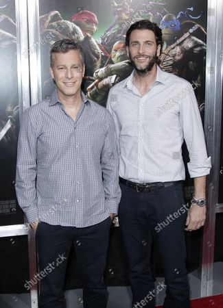 """Bradley Fuller and Andrew Form arrive on the red carpet at a New York special screening of """"Teenage Mutant Ninja Turtles"""" at AMC Lincoln Square Theater in New York City on August 6, 2014.  Teenage Mutant Ninja Turtles is a 2014 American science-fiction action film."""
