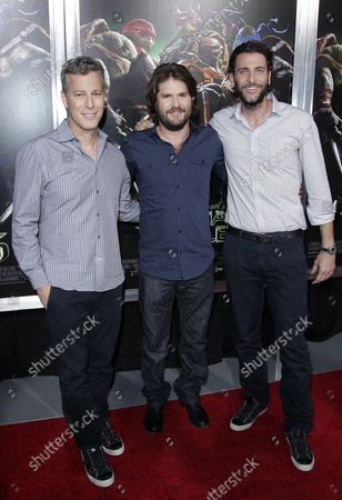 """Bradley Fuller, Jonathan Liebesman and Andrew Form arrive on the red carpet at a New York special screening of """"Teenage Mutant Ninja Turtles"""" at AMC Lincoln Square Theater in New York City on August 6, 2014.  Teenage Mutant Ninja Turtles is a 2014 American science-fiction action film."""