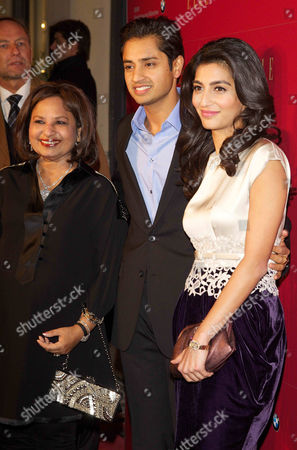 Usha Mittal, son Aditya Mittal, and wife Usha