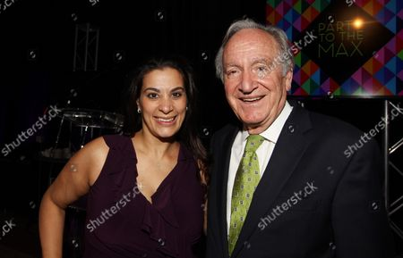 """Comedian Maysoon Zayid and U.S. Senator Tom Harkin D-IA smile as  they prepare for the Starkloff Disability Institutes' """"Party to the Max,"""" in St. Louis on September 20, 2014."""