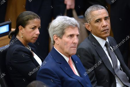 United States National Security Adviser Susan E. Rice (L) and Secretary of State John Kerry sit with President Barack Obama during the Ebola epidemic conference at the United Nations in New York, NY, on September 25, 2014. The 69 Session the the United Nations General Assembly began Sepetber 24th.