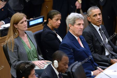 United States Ambassador to the United Nations Samantha Power (L), United States National Security Adviser Susan E. Rice,  Secretary of State John Kerry sit with President Barack Obama during the Ebola epidemic conference at the United Nations in New York, NY, on September 25, 2014. The 69 Session the the United Nations General Assembly began Sepetber 24th.