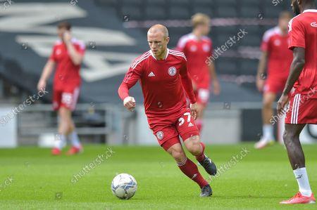 Accrington Stanley midfielder David Morgan  (37) during warm up during the EFL Sky Bet League 1 match between Milton Keynes Dons and Accrington Stanley at stadium:mk, Milton Keynes