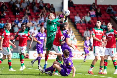 Walsall goalkeeper Carl Rushworth  (12) gathers ball during the EFL Sky Bet League 2 match between Walsall and Stevenage at the Banks's Stadium, Walsall