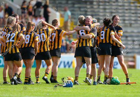 Stock Photo of Kilkenny vs Meath. Kilkenny's John Scott celebrates with Leann Fennelly