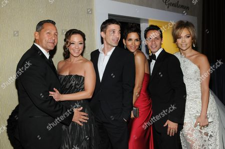 Angelo Pagan, Leah Remini, Olivier Martinez, Halle Berry, Marc Anthony and Jennifer Lopez