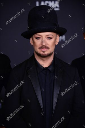 Singer Boy George attends the fourth annual LACMA Art + Film gala honoring Barbara Kruger and Tarantino in Los Angeles on November 1, 2014.
