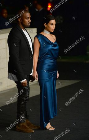 TV personality Kim Kardashian and singer Kanye West attends the fourth annual LACMA Art + Film gala honoring Barbara Kruger and Tarantino in Los Angeles on November 1, 2014.