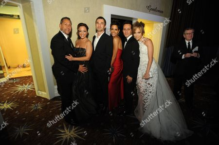 Angelo Pagan, Leah Remini, Halle Berry, Olivier Martinez, Marc Anthony and Jennifer Lopez