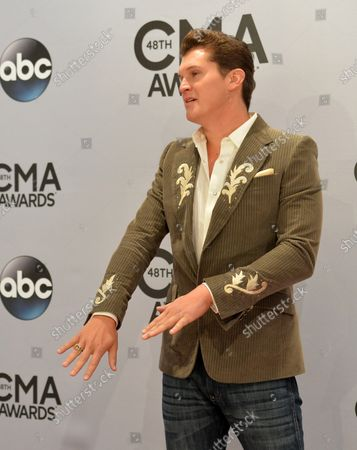 John Pardi arrives on the red carpet for the 48th Annual Country Music Awards at Bridgestone Arena in Nashville on November 5, 2014.