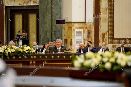 Jordan's King Abdullah  II (C) speaks during  the Baghdad conference in the Iraqi capital on Saturday, August. 28, 2021.
