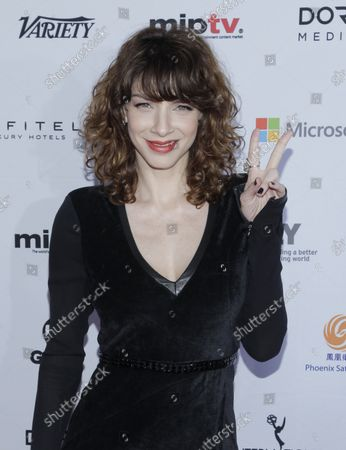 Stock Photo of Romina Gaetani arrives on the red carpet at the 2014 International Academy Of Television Arts & Sciences Emmy Awards at New York Hilton in New York City on November 24, 2014.