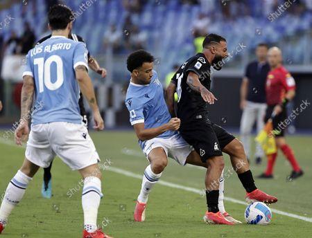 Serie A football, SS Lazio versus AC Spezia : Andreas Pereira of Lazio held off by Daniele Verde of Spezia; Olympic Stadium, Rome, Italy.