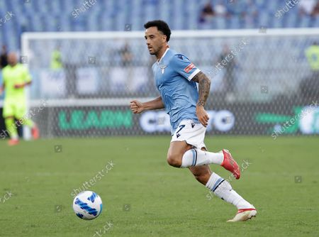 Serie A football, SS Lazio versus AC Spezia : Felipe Anderson of Lazio; Andreas Pereira of Lazio 28th August 2021; Olympic Stadium, Rome, Italy.