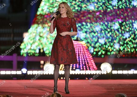 Country singer Chely Wright performs on stage during the National Christmas Tree Lighting Ceremony, December 4, 2014, in Washington, DC. The tradition was started in 1923 by President Calvin Coolidge and historically begins the festive Holiday Season in the US Capital.
