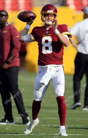 Washington Football Team quarterback Kyle Allen (8) makes a throw before an NFL preseason football game against the Baltimore Ravens, in Landover, Md