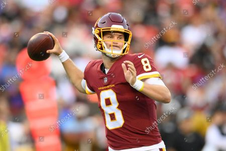 Washington Football Team quarterback Kyle Allen (8) passes the ball during the first half of a preseason NFL football game against the Baltimore Ravens, in Landover, Md