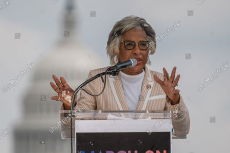 """Rep. Joyce Beatty, D-OH, speaks on the National Mall during the """"March on Washington"""" on the 58th anniversary of the Rev. Martin Luther King Jr.'s """"I Have a Dream"""" speech, in Washington, DC on Saturday, August 28, 2021. Voting rights advocates are demanding federal legislation to protect and expand access to the ballot."""