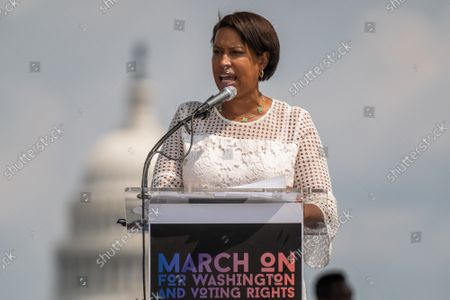 """Mayor of Washington D.C., Muriel Bowser, speaks on the National Mall during the """"March on Washington"""" on the 58th anniversary of the Rev. Martin Luther King Jr.'s """"I Have a Dream"""" speech, in Washington, DC on Saturday, August 28, 2021. Voting rights advocates are demanding federal legislation to protect and expand access to the ballot."""