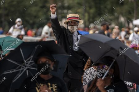 """Ronald Haynie participates on the National Mall during the """"March on Washington"""" on the 58th anniversary of the Rev. Martin Luther King Jr.'s """"I Have a Dream"""" speech, in Washington, DC on Saturday, August 28, 2021. Voting rights advocates are demanding federal legislation to protect and expand access to the ballot."""
