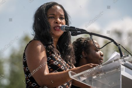 """Andrea Waters King speaks on the National Mall during the """"March on Washington"""" on the 58th anniversary of the Rev. Martin Luther King Jr.'s """"I Have a Dream"""" speech, in Washington, DC on Saturday, August 28, 2021. Voting rights advocates are demanding federal legislation to protect and expand access to the ballot."""