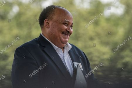 """Martin Luther King III waits to be called up to speaks on the National Mall during the """"March on Washington"""" on the 58th anniversary of the Rev. Martin Luther King Jr.'s """"I Have a Dream"""" speech, in Washington, DC on Saturday, August 28, 2021. Voting rights advocates are demanding federal legislation to protect and expand access to the ballot."""