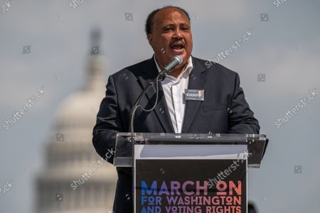 """Martin Luther King III speaks on the National Mall during the """"March on Washington"""" on the 58th anniversary of the Rev. Martin Luther King Jr.'s """"I Have a Dream"""" speech, in Washington, DC on Saturday, August 28, 2021. Voting rights advocates are demanding federal legislation to protect and expand access to the ballot."""