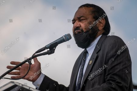 """Rep. Al Green, D-TX, speaks on the National Mall during the """"March on Washington"""" on the 58th anniversary of the Rev. Martin Luther King Jr.'s """"I Have a Dream"""" speech, in Washington, DC on Saturday, August 28, 2021. Voting rights advocates are demanding federal legislation to protect and expand access to the ballot."""