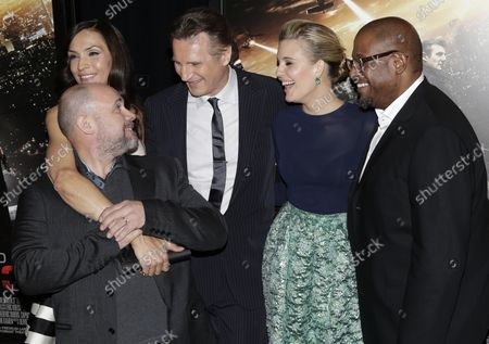 Famke Janssen, Olivier Megaton, Liam Neeson, Maggie Grace and Forest Whitaker arrive on the red carpet at the 'Taken 3' Fan Event Screening at AMC Empire 25 Theater in New York City on January 7, 2015.