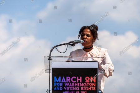 13-year-old Yolanda King, grandaughter of Dr. Martin Luther King Jr., speaks at the flagship event of a nationwide march for voting rights on the 58th anniversary of the March on Washington.  Participating individuals and organizations demand an end to the filibuster and passage of the John Lewis Voting Rights Advancement Act and the For the People act to ensure federal protection of the right to vote.  The event is sponsored by the Drum Major Institute, March On, SEIU, National Action Network, and Future Coalition, and has more than 225 partner organizations.
