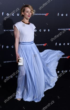 """Actress Karine Vanasse attends the premiere of the motion picture dramatic comedy """"Focus"""" at TCL Chinese Theatre in the Hollywood section of Los Angeles on February 24, 2015. Storyline: In the midst of veteran con man Nicky's latest scheme, a woman from his past - now an accomplished femme fatale - shows up and throws his plans for a loop."""
