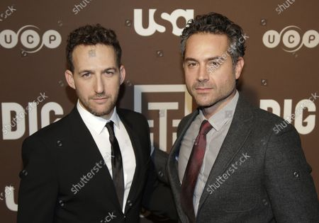 Ori Pfeffer and Omar Metwally arrive on the red carpet at USA Network's Premiere Party for New Series DIG in New York City on February 25, 2015.