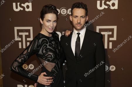 Yael Goldman and Ori Pfeffer arrive on the red carpet at USA Network's Premiere Party for New Series DIG in New York City on February 25, 2015.