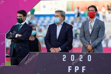 Saldenha Zimbro (L) from Sporting, Fernando Gomes (C), President of Portuguese Football Federation and Rui Costa (R), acting president of Benfica, during the Women's Portuguese Super cup final match between Benfica and Sporting at Estdio do Restelo. (Final score: Benfica 0:2 Sporting).