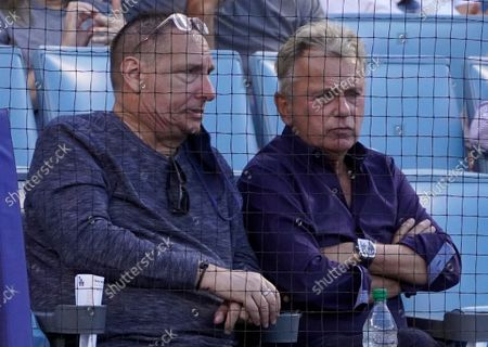 Stock Photo of Pat Sajak at the Colorado Rockies and Los Angeles Dodgers baseball game at Dodger Stadium on August 28, 2021 in Los Angeles, California
