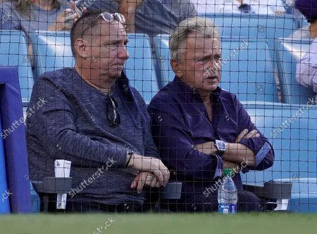 Pat Sajak at the Colorado Rockies and Los Angeles Dodgers baseball game at Dodger Stadium on August 28, 2021 in Los Angeles, California