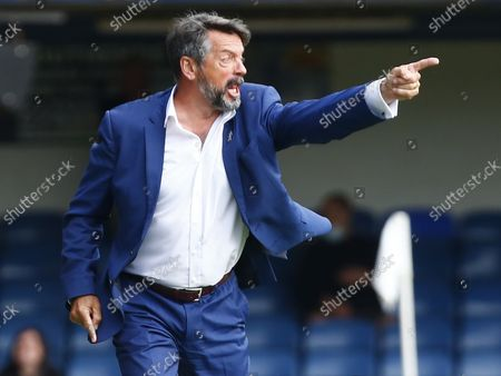 Stock Picture of Phil Brown manager of Southend United  during National League between Southend United  and Stockport County at Roots Hall Stadium , Southend on Seas, UK on 25th August 2021