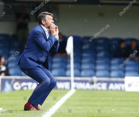 Stock Image of Phil Brown manager of Southend United  during National League between Southend United  and Stockport County at Roots Hall Stadium , Southend on Seas, UK on 25th August 2021