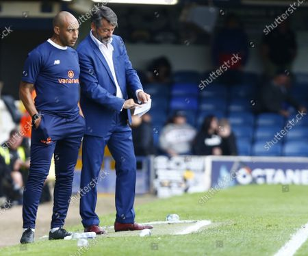 L-R First Team Coach Craig Fagan and Phil Brown manager of Southend United  during National League between Southend United  and Stockport County at Roots Hall Stadium , Southend on Seas, UK on 25th August 2021