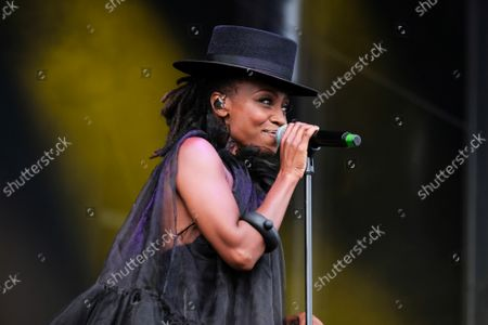 """Shirley Klaris Yonavieve  """"Skye"""" Edwards, singer songwriter and female vocalist with English electronic band Morcheeba, performing live on stage at Victorious Festival."""