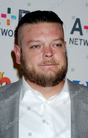 Corey Harrison arrives on the red carpet at the 2015 A+E Network Upfront at Park Avenue Armory in New York City on April 30, 2015.