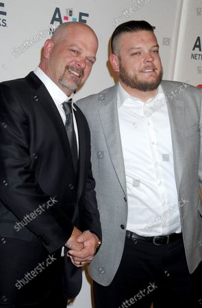 Stock Picture of Rick Harrison and Corey Harrison arrive on the red carpet at the 2015 A+E Network Upfront at Park Avenue Armory in New York City on April 30, 2015.