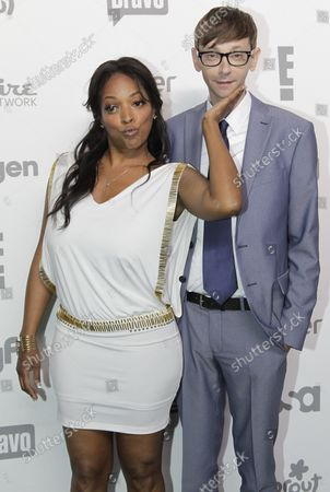 Kellita Smith and DJ Qualls arrive on the red carpet at the 2015 NBCUniversal Cable Entertainment Group Upfront at the Jacob K. Javits Convention Center in New York City on May 14, 2015.